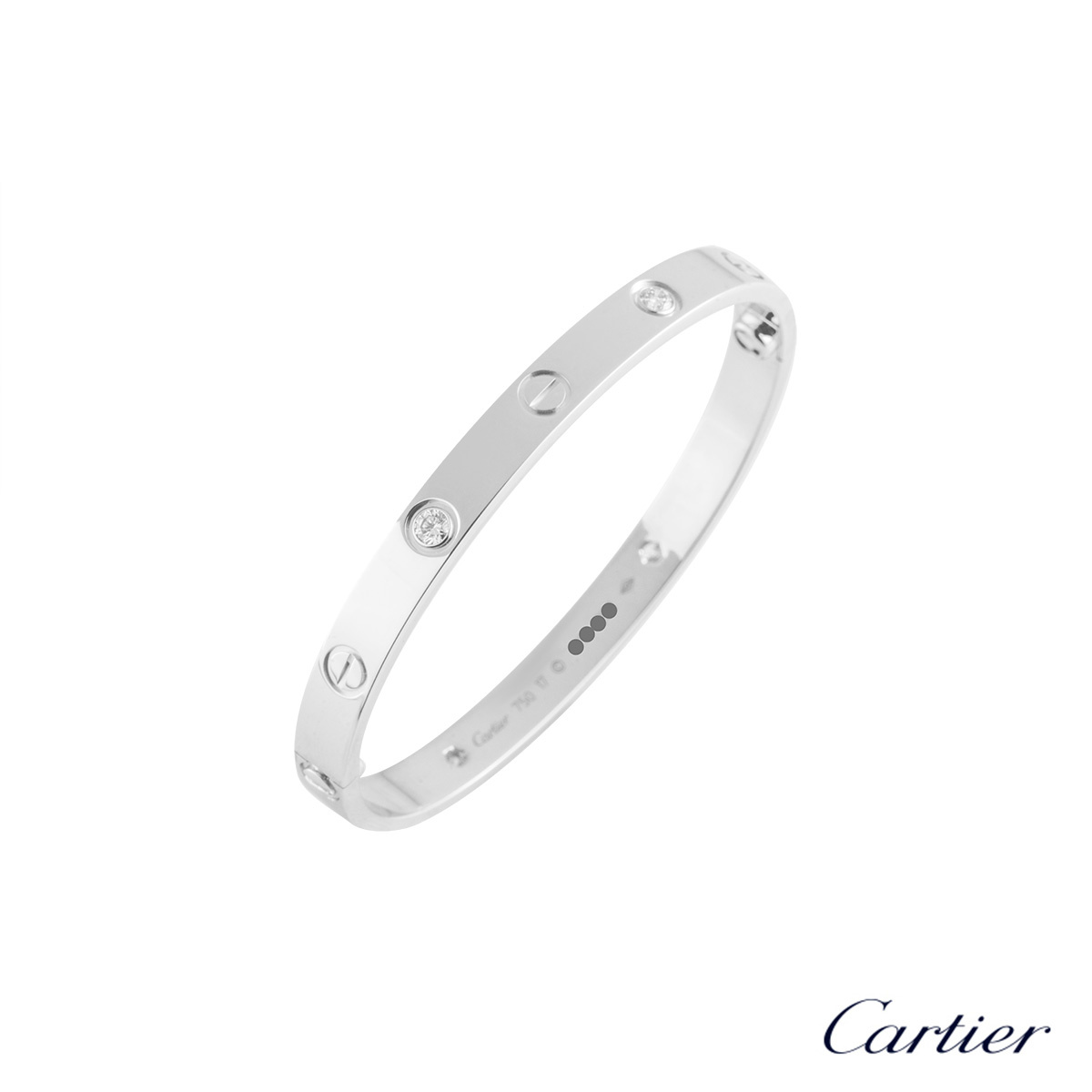 Cartier White Gold Half Diamond Love Bracelet Size 17 B6014017